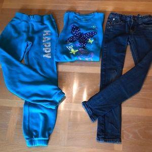 Bundle of three girls 7 8 slim sweats top  jeans